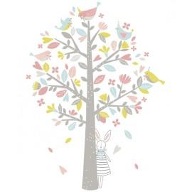 Sticker Arbre, oiseaux rose et vert Lilipinso