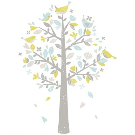 sticker arbre oiseaux bleu et vert lilipinso pour chambre d 39 enfant. Black Bedroom Furniture Sets. Home Design Ideas