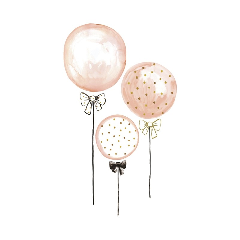 Stickers Enfants Ballons Rose 224 Pois Dores Lilipinso