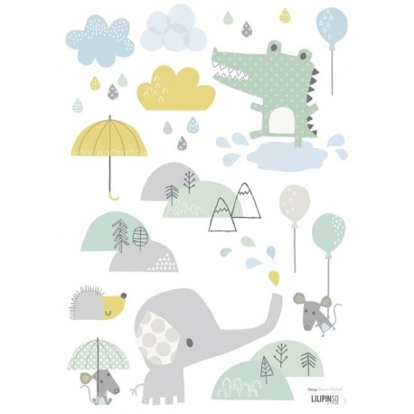 Sticker chambre b b l phant et crocodile lilipinso for Stickers nounours pour chambre bebe