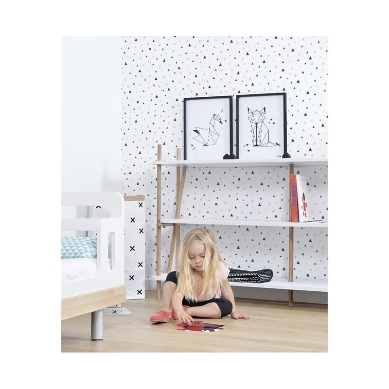 Papier Peint Geometrique Triangles Noir Et Blanc Gris : Papier peint enfant géométrique triangle noir et corail