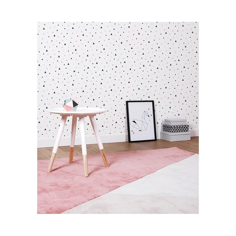 papier peint enfant g om trique triangle noir et corail lilipinso. Black Bedroom Furniture Sets. Home Design Ideas