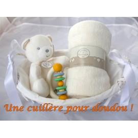 Panier de naissance ours musical ivoire