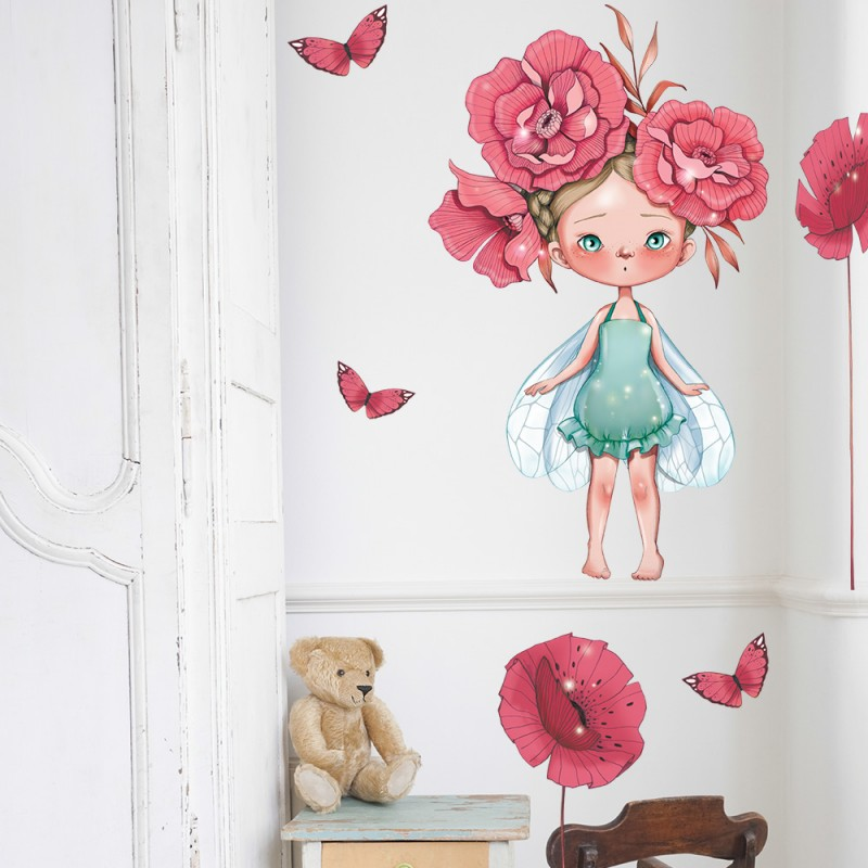 Stickers fille f e bertille emmanuelle colin for Stickers chambre petite fille