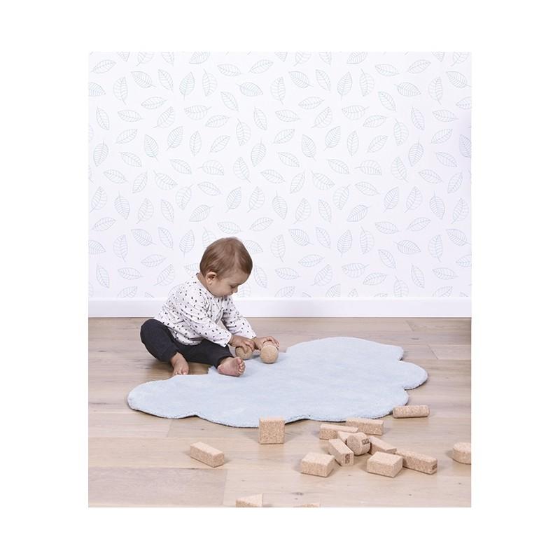 Tapis pour chambre d 39 enfant nuage bleu clair lilipinso - Tapis turquoise chambre bebe ...