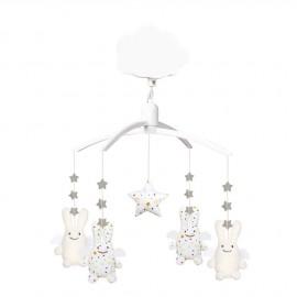 Mobile musical Ange lapin étoiles blanc et écru Trousselier