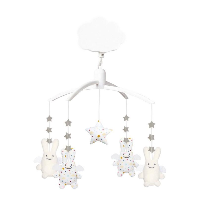 15191a0041e Mobile musical Ange lapin étoiles blanc et écru Trousselier