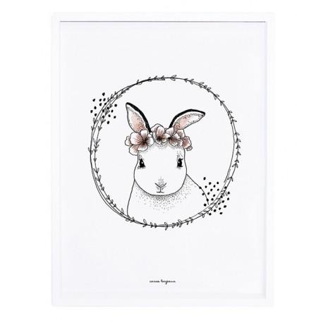 Affiche encadrée lapin et fleurs Lilipinso