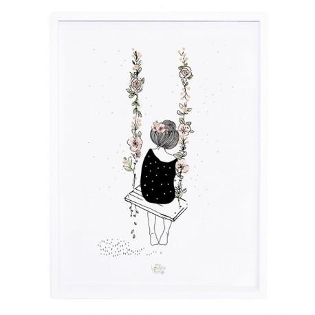 Affiche avec cadre Balançoire et Fleurs Lilipinso