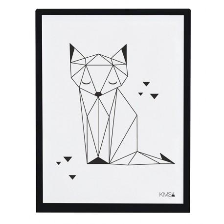 Affiche encadrée Renard noir et blanc Lilipinso