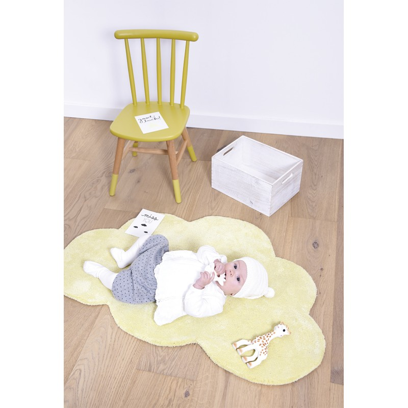 tapis chambre b b nuage jaune pastel lilipinso. Black Bedroom Furniture Sets. Home Design Ideas