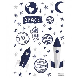 Stickers bleu nuit espace fusée et étoiles Lilipinso