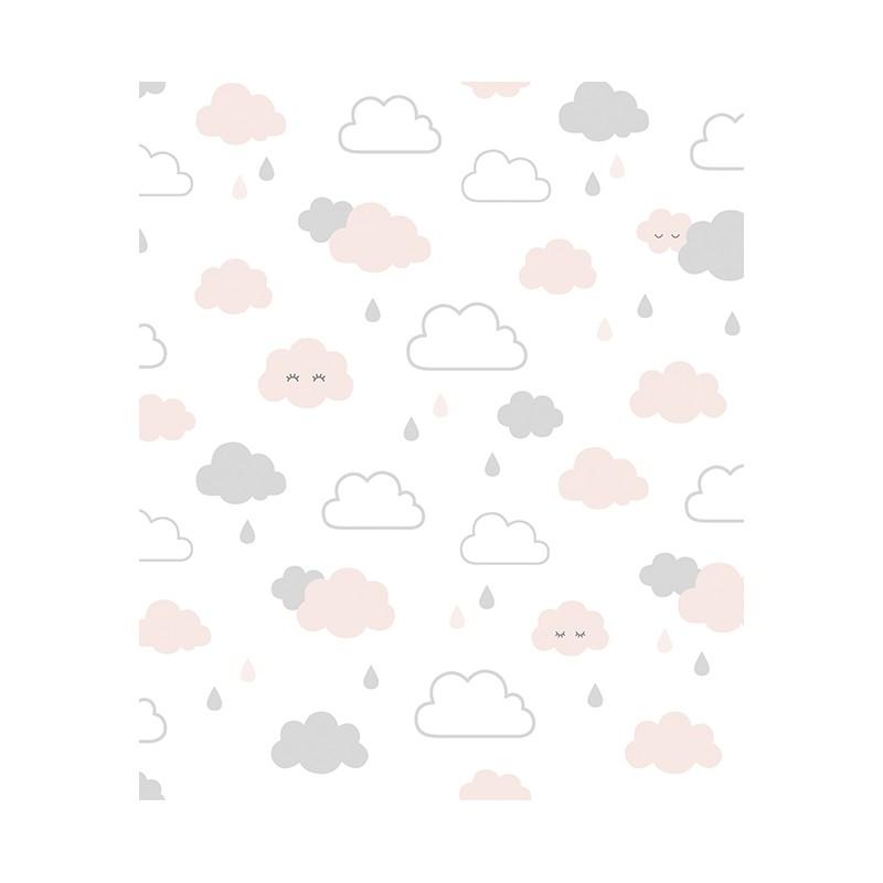papier peint nuages sourire gris et rose lilipinso. Black Bedroom Furniture Sets. Home Design Ideas