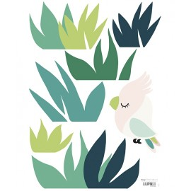 Sticker tropical et petit oiseau Lilipinso