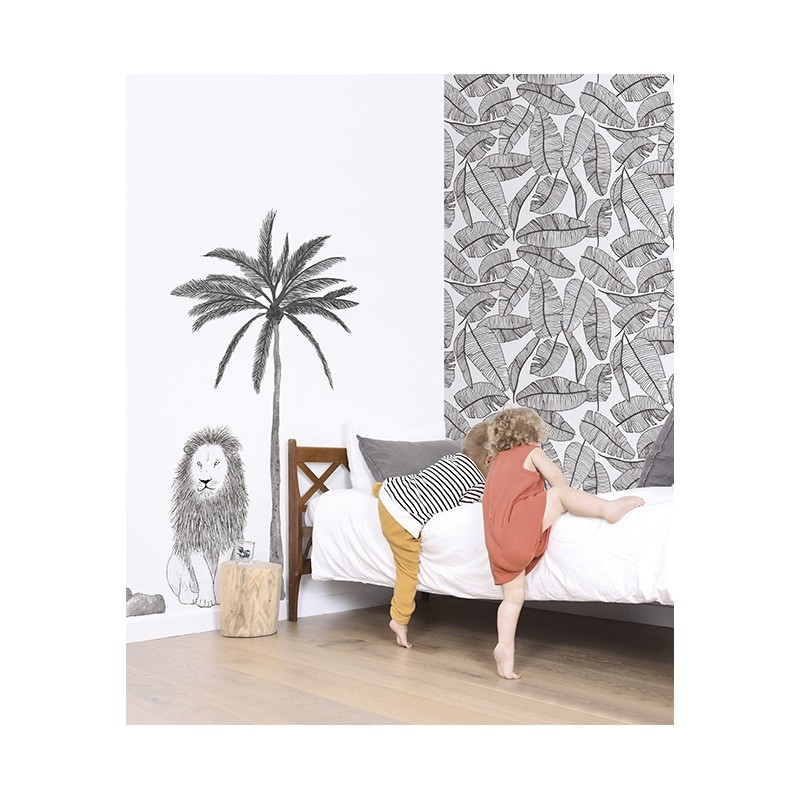 papier peint enfant feuillage tropical lilipinso. Black Bedroom Furniture Sets. Home Design Ideas