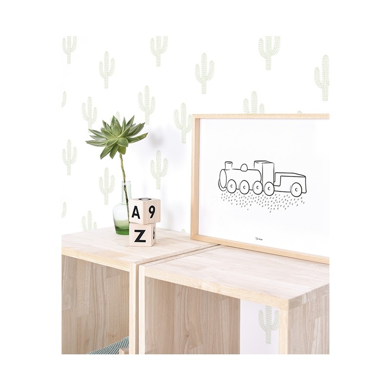 papier peint cactus verts lilipinso h0464. Black Bedroom Furniture Sets. Home Design Ideas