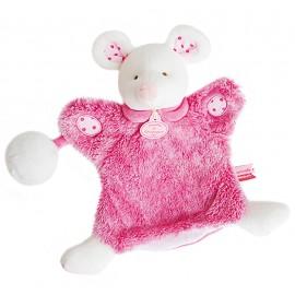 Doudou marionnette souris rose Lovely Fraise