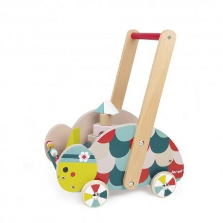 Chariot d'Eveil Tortue Baby Forest avec cubes Janod