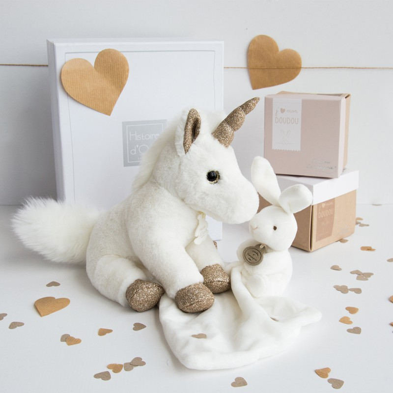peluche licorne or girls glitter histoire d 39 ours 45cm ho2769. Black Bedroom Furniture Sets. Home Design Ideas