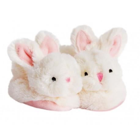 Coffret naissance chaussons rose lapin bonbon Doudou et Compagnie