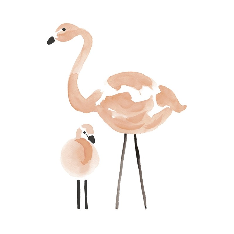 Sticker chambre fille enfants flamant rose s1043 - Stickers flamant rose ...