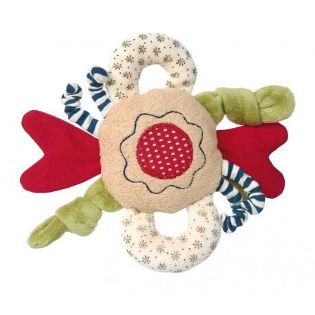 Doudou hochet Fleur Etiquettes coton bio Sigikid