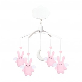 Mobile Musical Ange Lapin Rose Papillon Trousselier