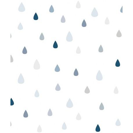 Papier peint gouttes de pluie bleu Lilipinso