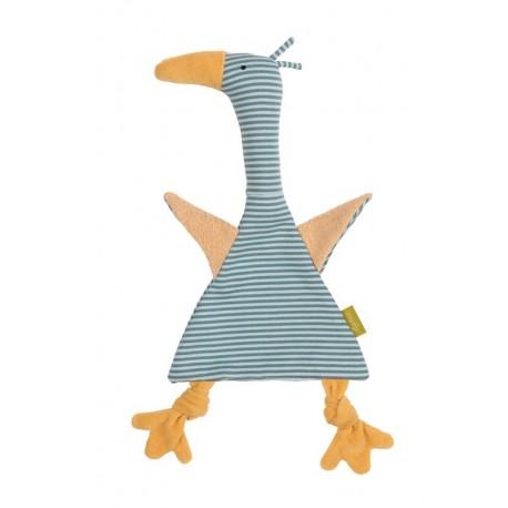 Doudou plat Oiseau bleu coton bio Sigikid