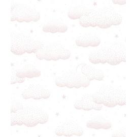 Papier peint nuage et étoiles roses Lilipinso