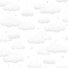 Papier peint gris nuage et étoiles Lilipinso