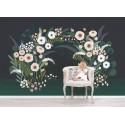 Papier peint fille décor mural fleuri Lilipinso