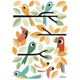 Stickers Oiseaux verts et oranges Lilipinso