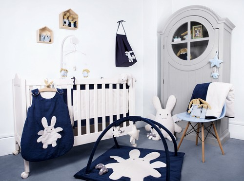 tour de lit b b ange lapin bleu marine trousselier. Black Bedroom Furniture Sets. Home Design Ideas