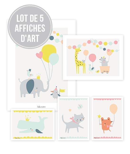 lot d 39 affiches animaux gar on lilipinso pour chambre d 39 enfant. Black Bedroom Furniture Sets. Home Design Ideas